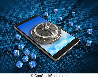 3d vault door - 3d illustration of mobile phone over digital...