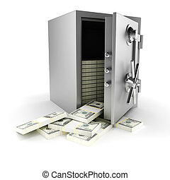 3d vault with money inside, on white background