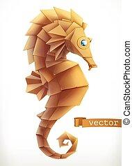 3d, vecteur, horse., mer, icône