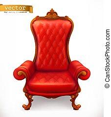 3d, vecteur, royal, chair., icône