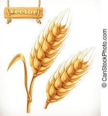 3d, vecteur, wheat., icône