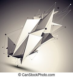 3D vector abstract design contrast template, polygonal complicated asymmetric figure with lines mesh placed over shaded background.
