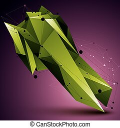 3D vector abstract design object, green polygonal complicated figure with lines mesh.