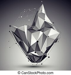 3D vector abstract design template, polygonal complicated contrast figure with lines mesh placed over dark background.