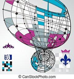 3D vector abstract design template, polygonal complicated contra