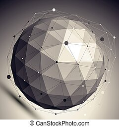 3D vector abstract design undertone template, spherical contrast figure with lines mesh placed over dark background.
