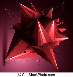 3D vector abstract red design object, polygonal complicated figure with lines mesh.