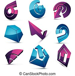 3d vector abstract shapes, different business icons and design elements collection. Geometric abstract arrows for use as navigation pictograms and app buttons.
