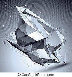3D vector abstract technological illustration, perspective...