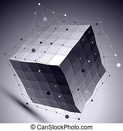 3D vector abstract technological illustration, perspective geometric unusual background with wireframe. Contrast dark backdrop with undulate cube and connected lines and dots.