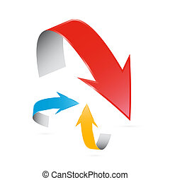 3d Vector Arrows Isolated on White background
