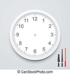 3d vector blank clock face with hour, minute and second ...