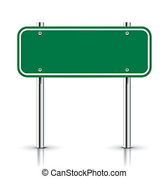 3d vector blank green traffic road sign on white