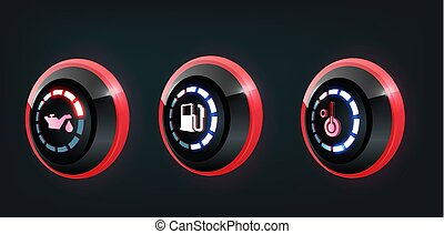 3D vector collection of car dashboard panel indicators, red , blue indicators