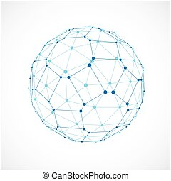 3d vector digital wireframe sphere