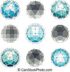3d vector digital wireframe spherical objects made using different geometric facets. Polygonal orbs created with lines mesh. Low poly shapes collection, lattice forms for use in web design.