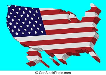 3D vector flag map of the USA
