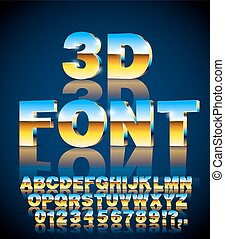 Blue Sky Gold metallic style 3d vector extruded font set