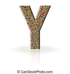 3D Vector Font with Reflection Alphabet Letter