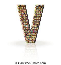 3D Vector Font with Reflection Alphabet Letter V