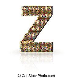 3D Vector Font with Reflection Alphabet Letter Z