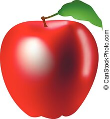 3d vector graphic of a red apple isolated on white background