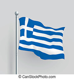 3d vector Greece flag