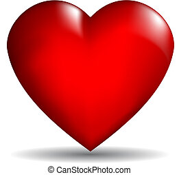 Glossy red 3D heart on a white background