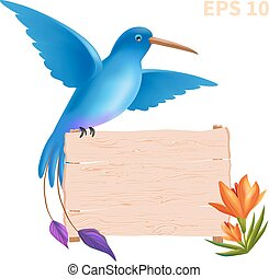 illustration with birds, flowers and a wooden plate