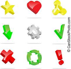 3d, vector, iconen, verzameling