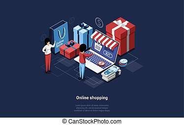 3D Vector Illustration In Isometric Cartoon Style On Dark Background. Conceptual Composition On Online Shopping Concept. Characters Near Big Laptop, Gift Boxes, Bag, Money Banknotes And Dollar Coins