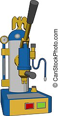 3D vector illustration of a blue and yellow coffee maker white background