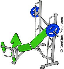 3D vector illustration of a green gym weight lifting device on white background