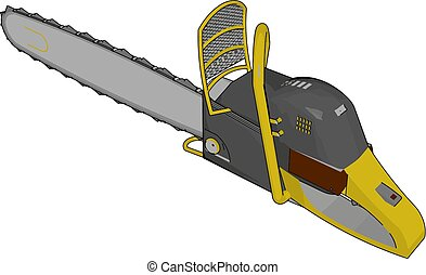 3D vector illustration of a grey and yellow chain saw white background