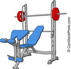 3D vector illustration of a gym device for lifting weights on white background