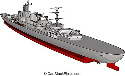 3D vector illustration of a long red and grey military war ship on a white background
