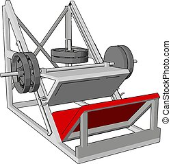 3D vector illustration of a metal gym device for lifting weights on white background