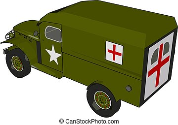 3D vector illustration of a military medicle vehicle on a white background