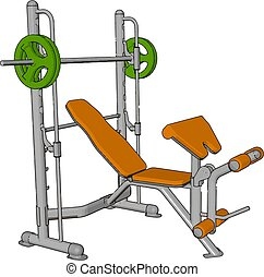 3D vector illustration of a orange gym weight lifting device on white background