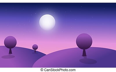 3d vector illustration of a purple mountain with trees