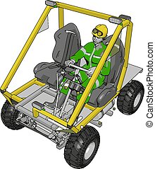 3D vector illustration of a worker driving yellow industrial transportation vehicle on a white background
