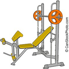 3D vector illustration of a yellow gym weight lifting device on white background