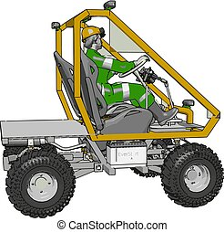 3D vector illustration of a yellow industrial human transport vehicle on a white background