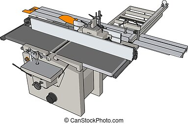 3D vector illustration of an industrial power press machine white background