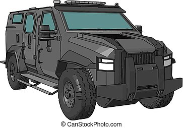 3D vector illustration of armed military vehicle on white background