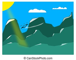 3D vector illustration of sequential mountain and valley in green color