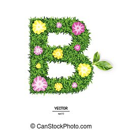 3d Vector Illustration of The Letter B Made of Green Grass