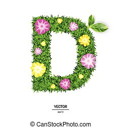 3d Vector Illustration of The Letter D Made of Green Grass
