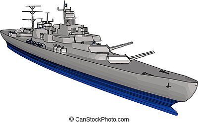 3D vector illustration on a white background of a long grey and blue war military ship