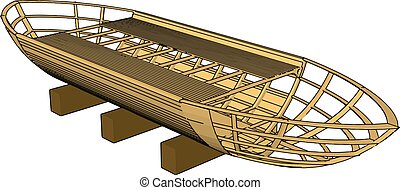 3D vector illustration on white backgroudn of a brown wooden...